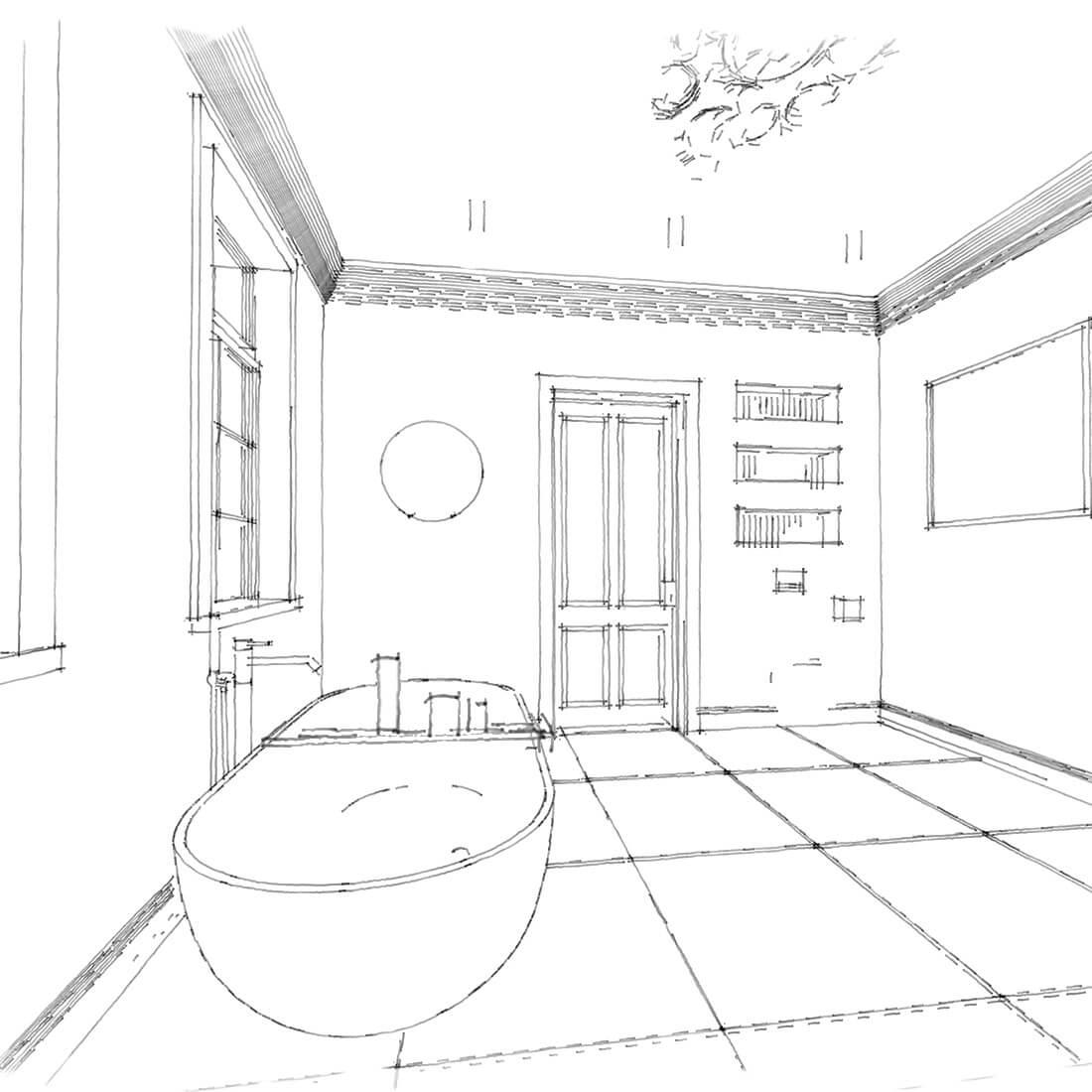 łazienka w kamienicy szkic ołówek 2