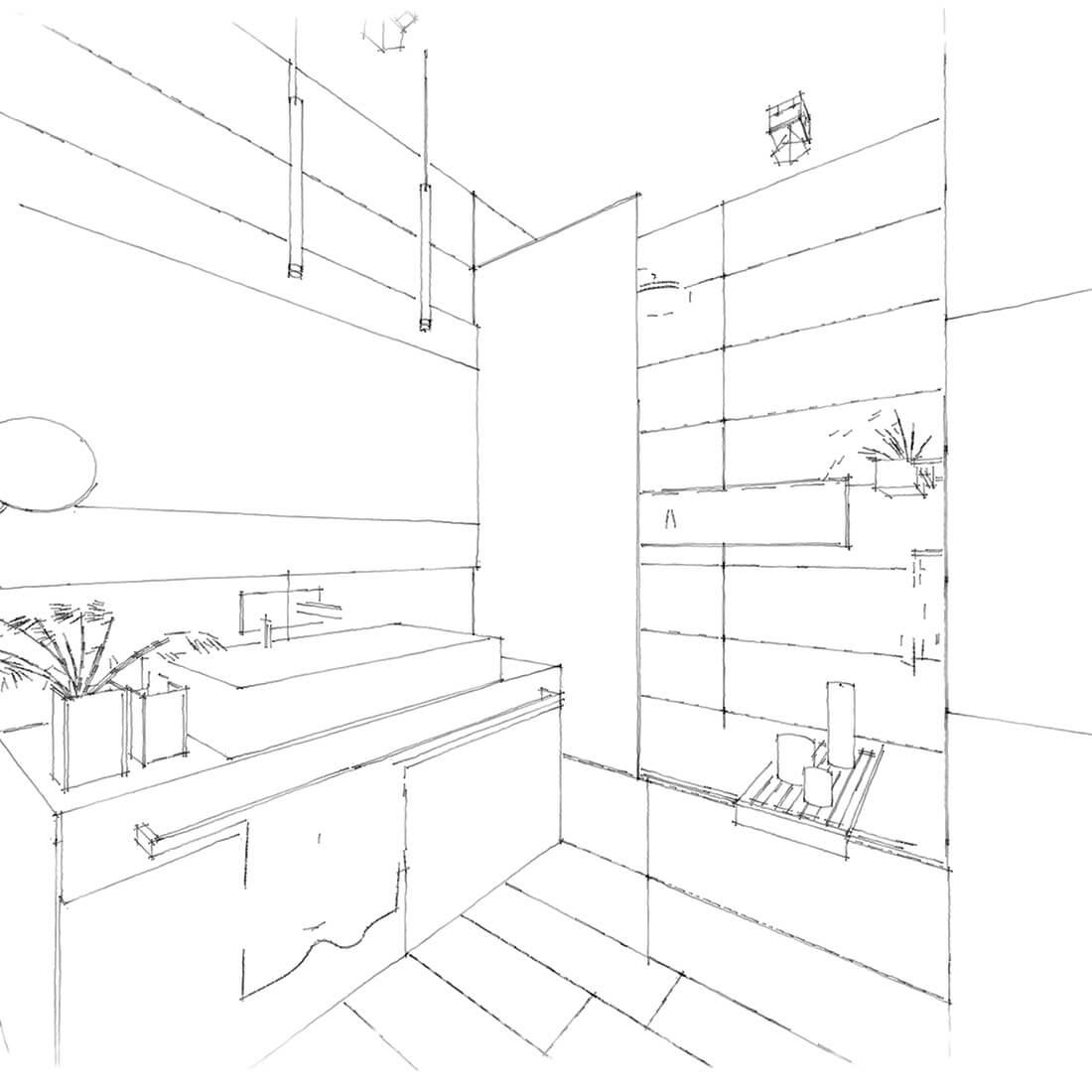 łazienka w mieszkaniu biel drewno szkic