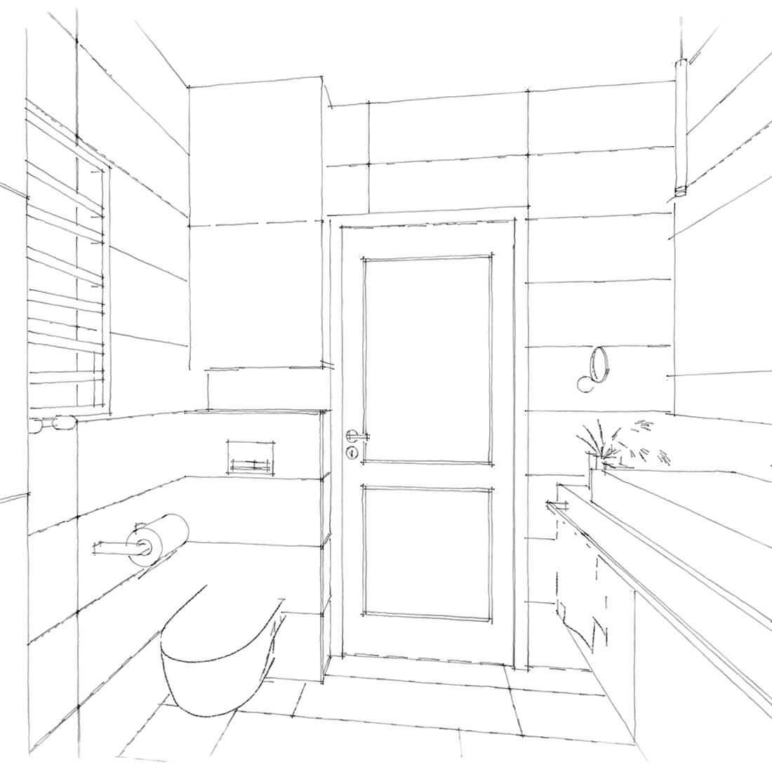 łazienka w mieszkaniu rodzinnym szkic