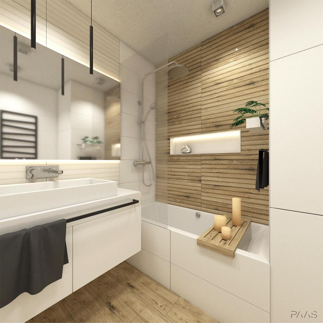łazienka Rodzinna Biel I Drewno