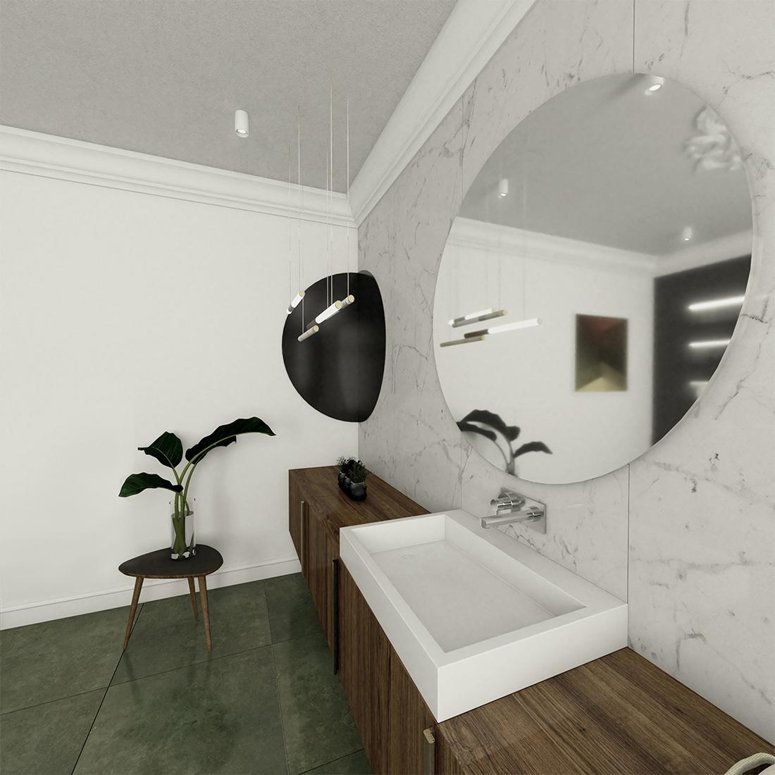 nowoczesna aranżacja łazienki w kamienicy