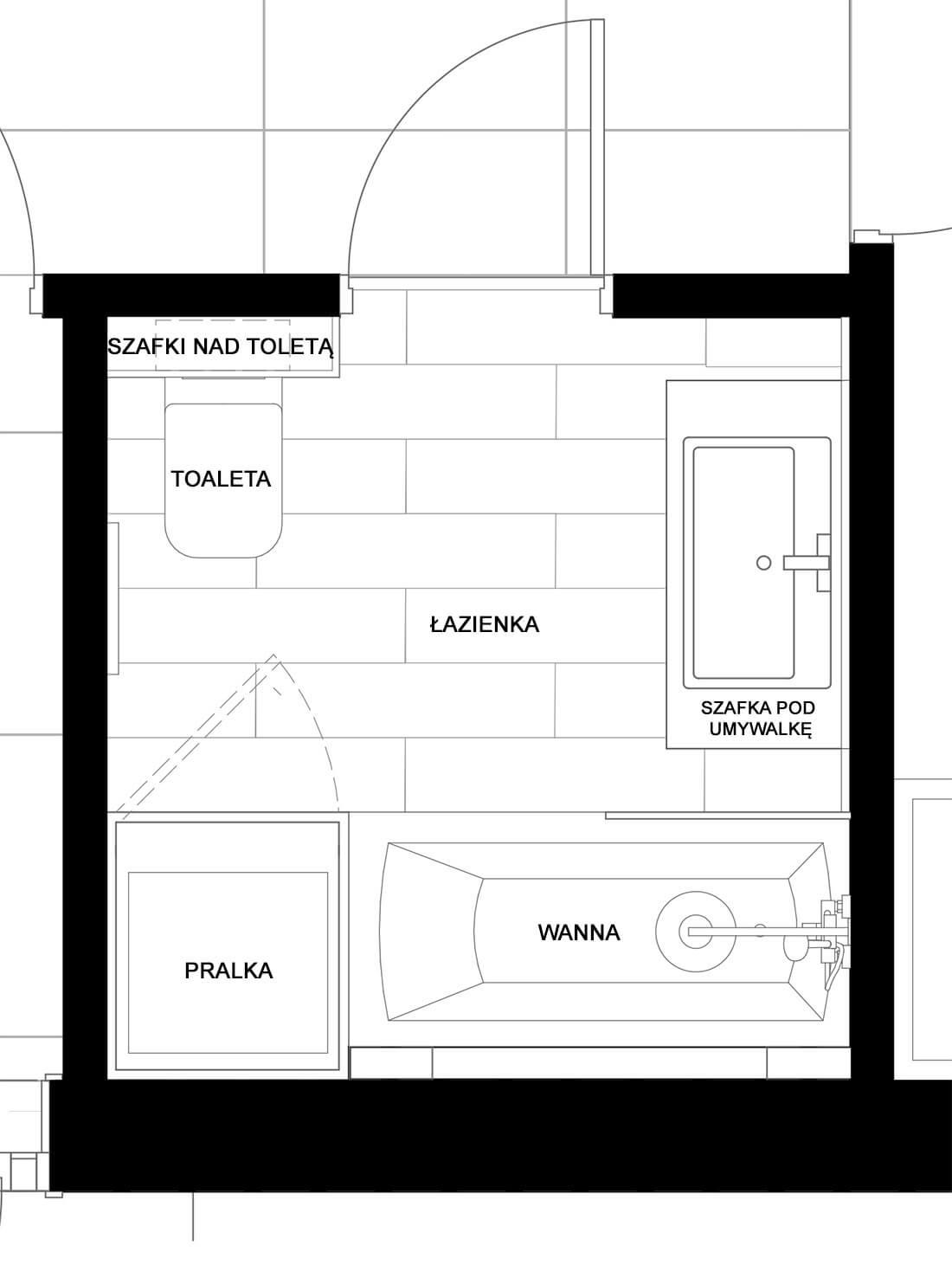 rzut łazienki rodzinnej, biel i drewno