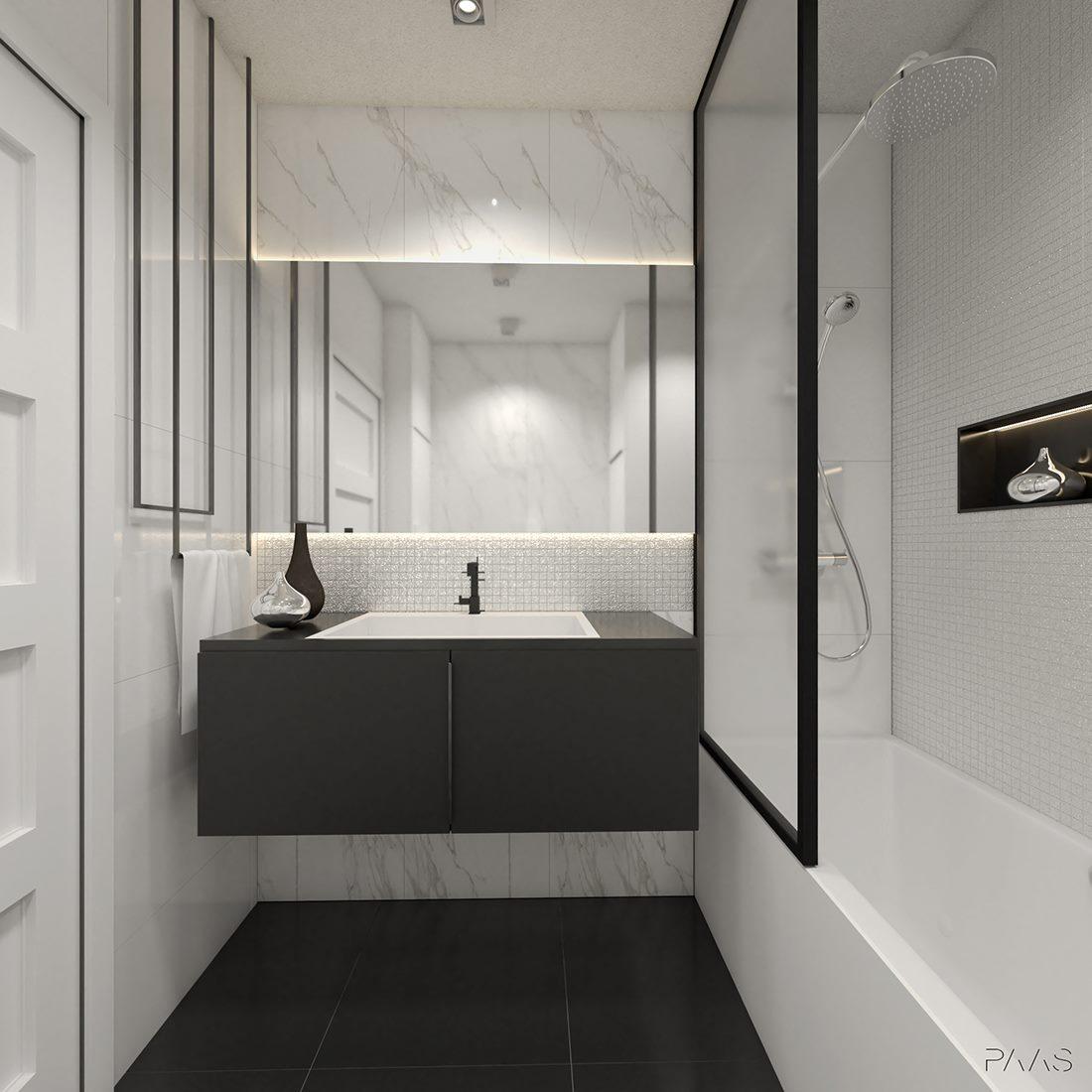łazienka aranżacja black&white