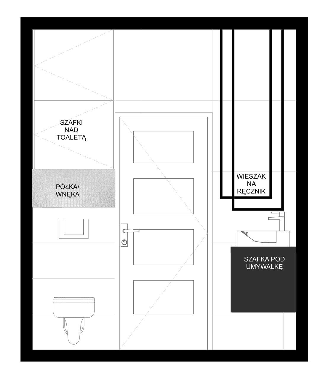 łazienka czarno-biała elewacja 1