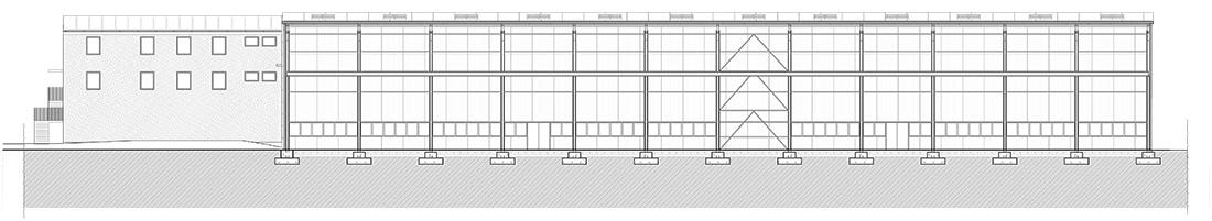 4_Przekrój EE hali magazynowej przy budynku socjalno-biurowym