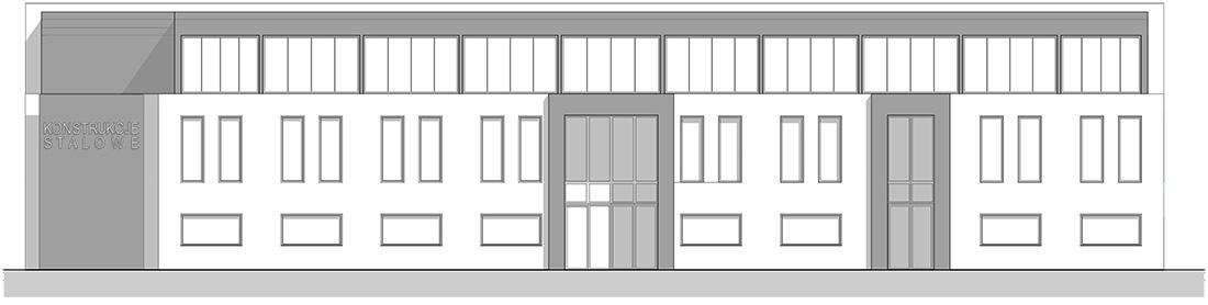 Elewacja frontowa budynku biurowo-socjalnego