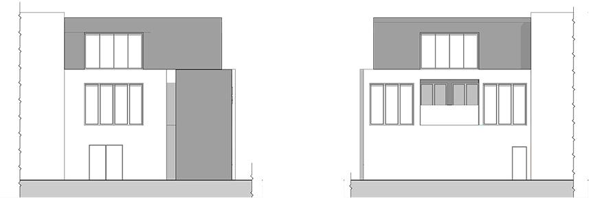 Elewacje boczne budynku biurowo-socjalnego przy hali przemysłowej