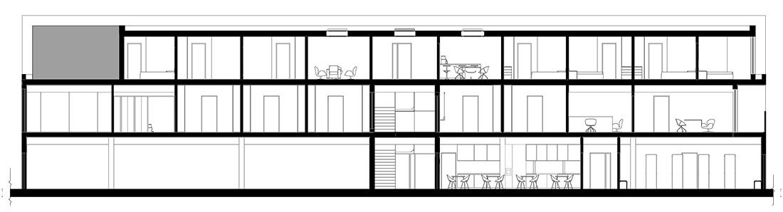 Przekrój AA budynku biurowo-socjalnego