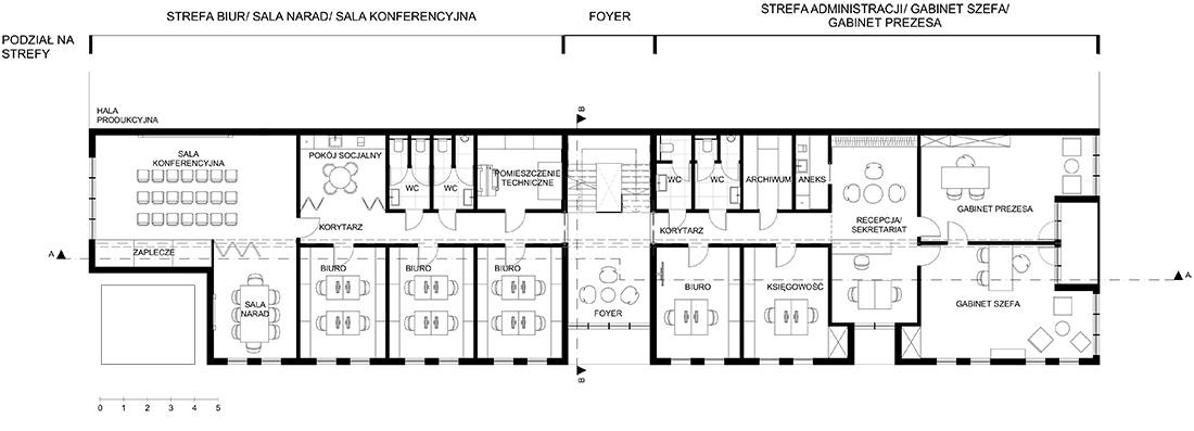 Rzut 1 piętra strefy biurowej