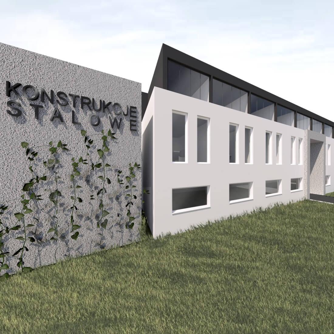 budynek biurowo socjalny przy hali przemysłowej