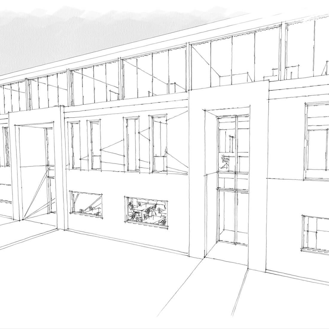 budynek biurowo-socjalny szkic