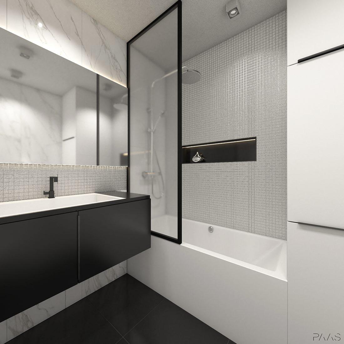 czarno-biała łazienka projekt