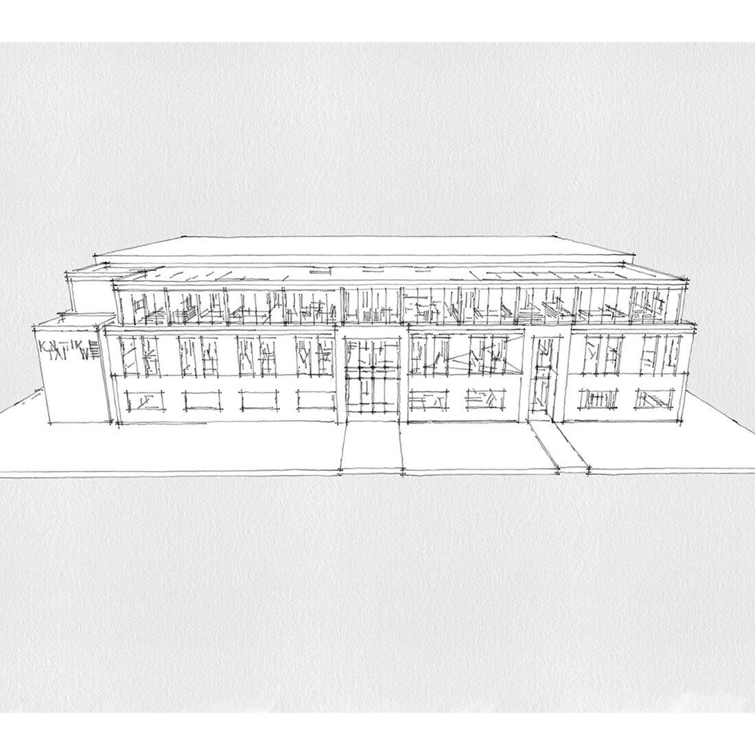 szkic koncepcyjny budynku socjalno-biurowego