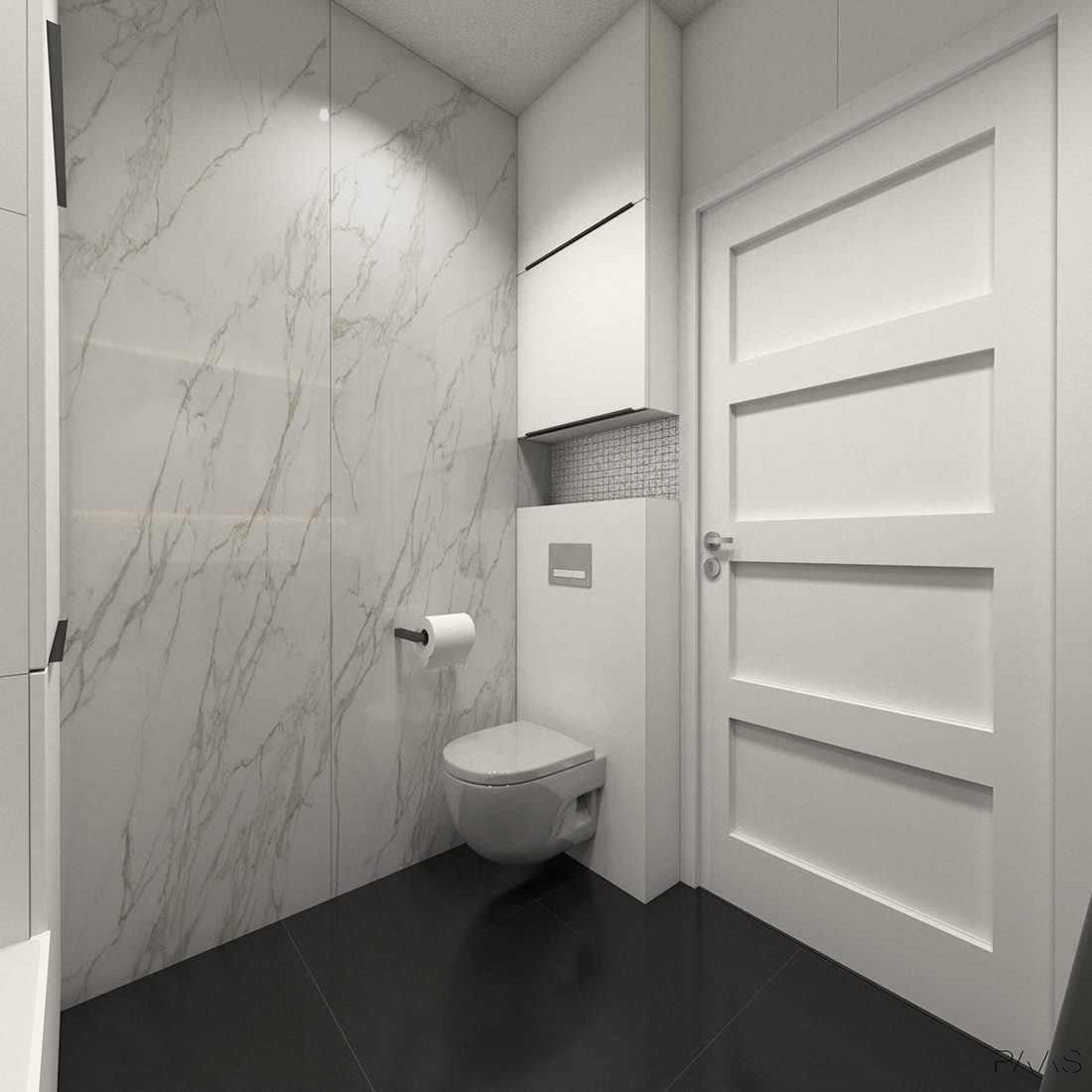 wystrój łazienki w marmurze z czarnymi elementami
