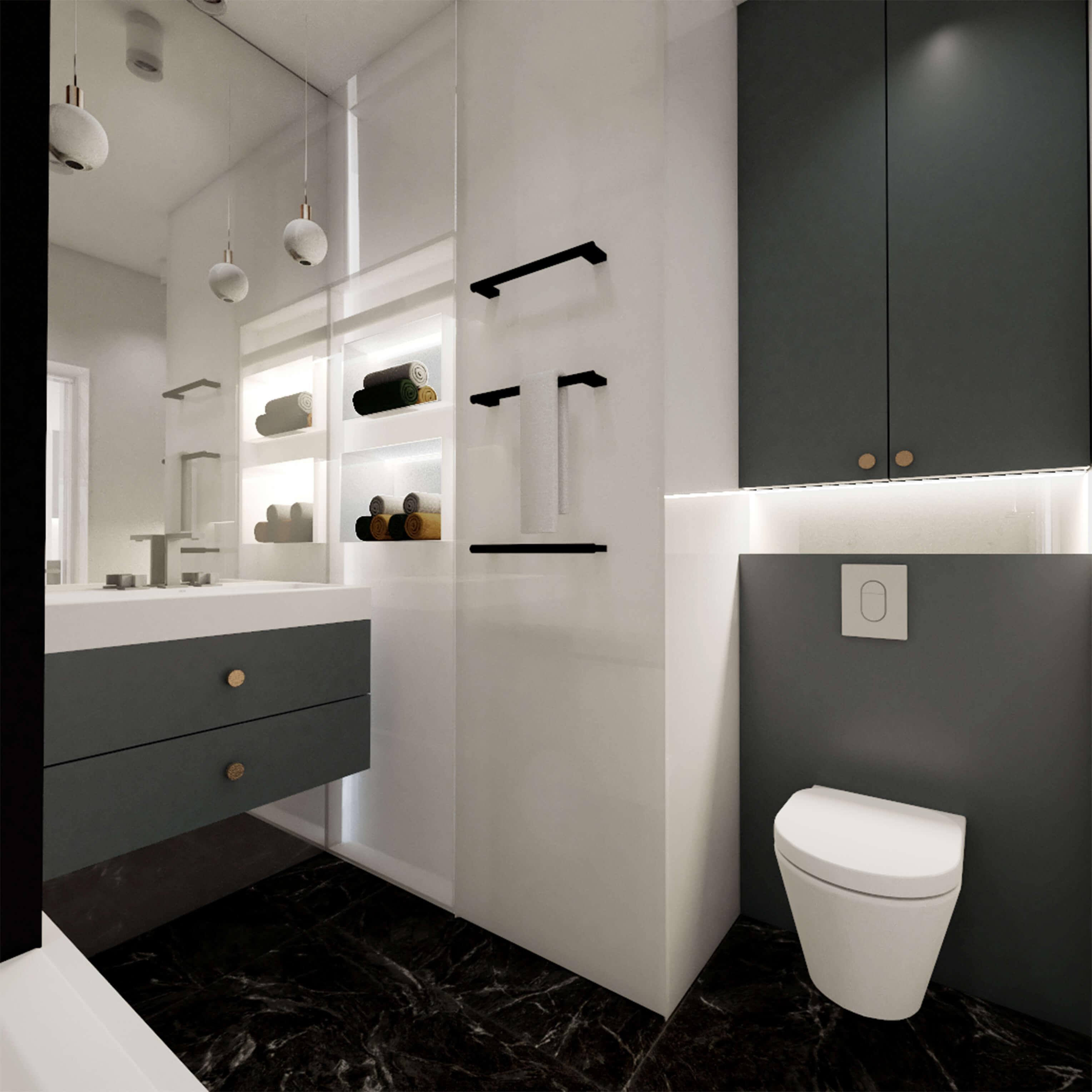 łazienka z granatową zabudową i dużym lustrem