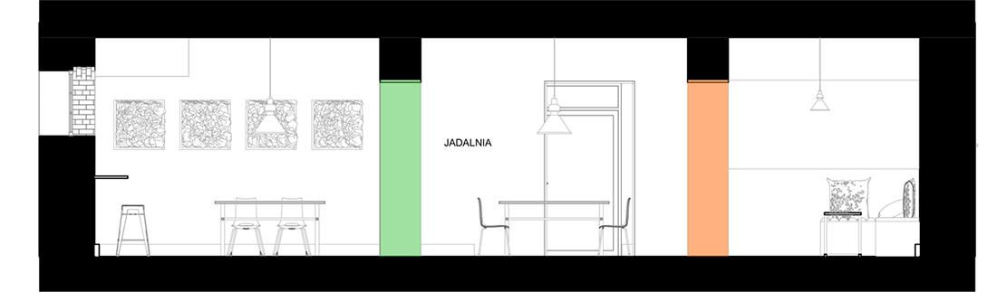 Przekrój AA projektu wnętrza jadalni wraz z pomieszczeniami przyległymi