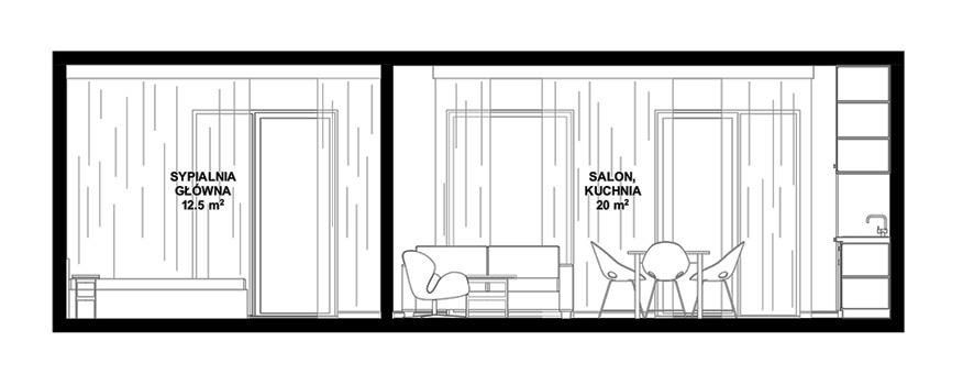 Przekrój AA w mieszkaniu w bloku 60m2