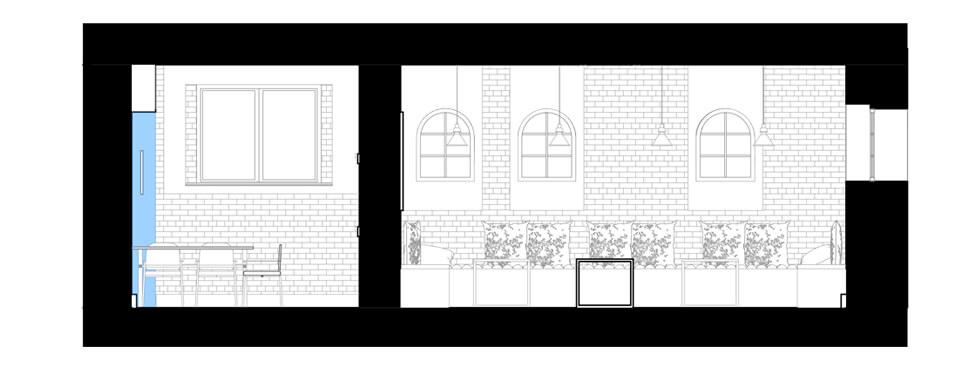 Przekrój BB projektu wnętrza jadalni wraz z pomieszczeniami przyległymi