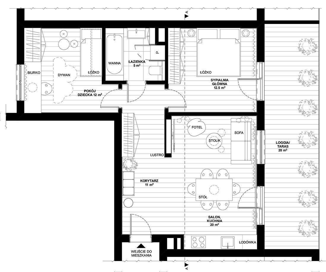 Rzut mieszkania w bloku 60m2