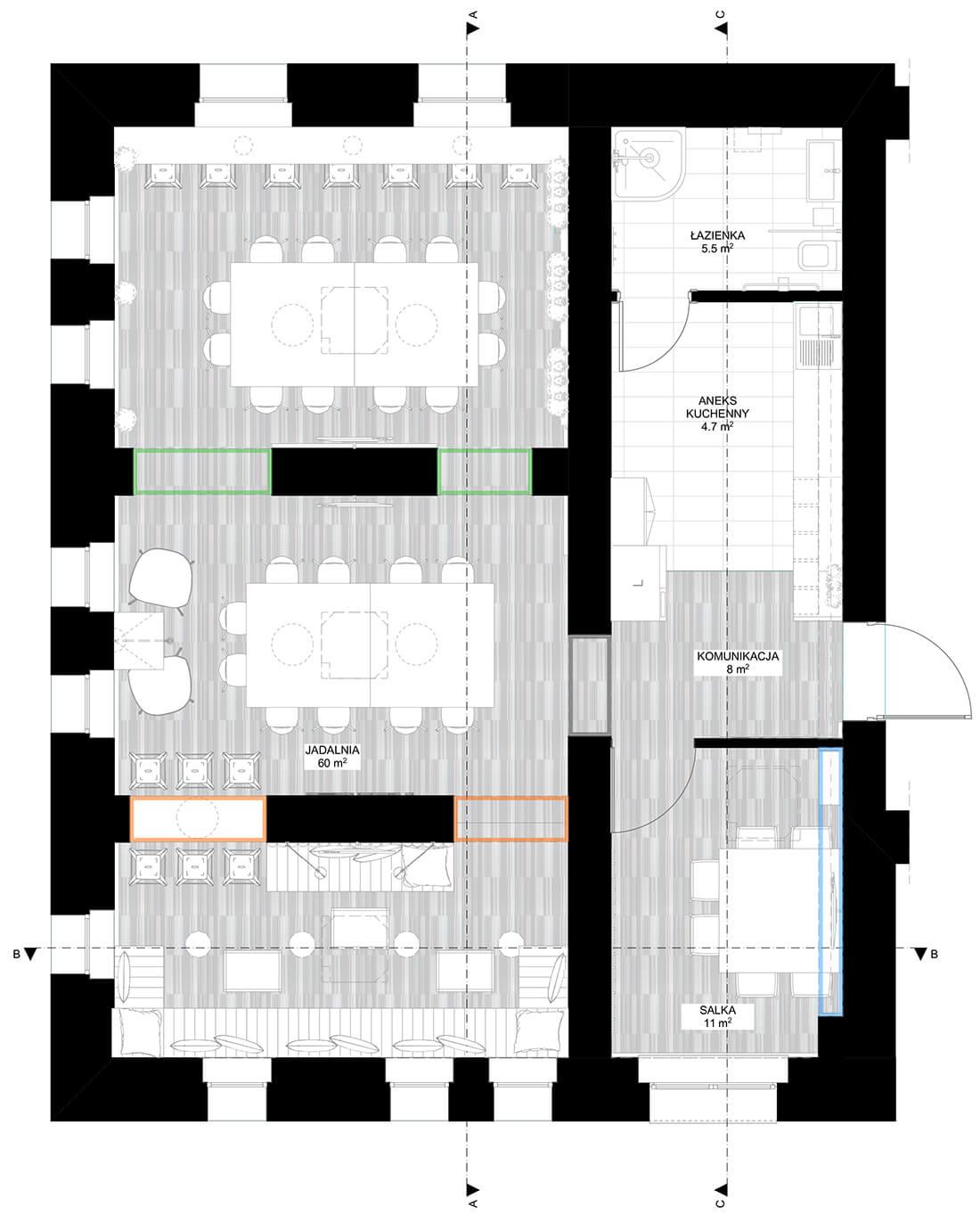 Rzut projektu wnętrza jadalni wraz z pomieszczeniami przyległymi