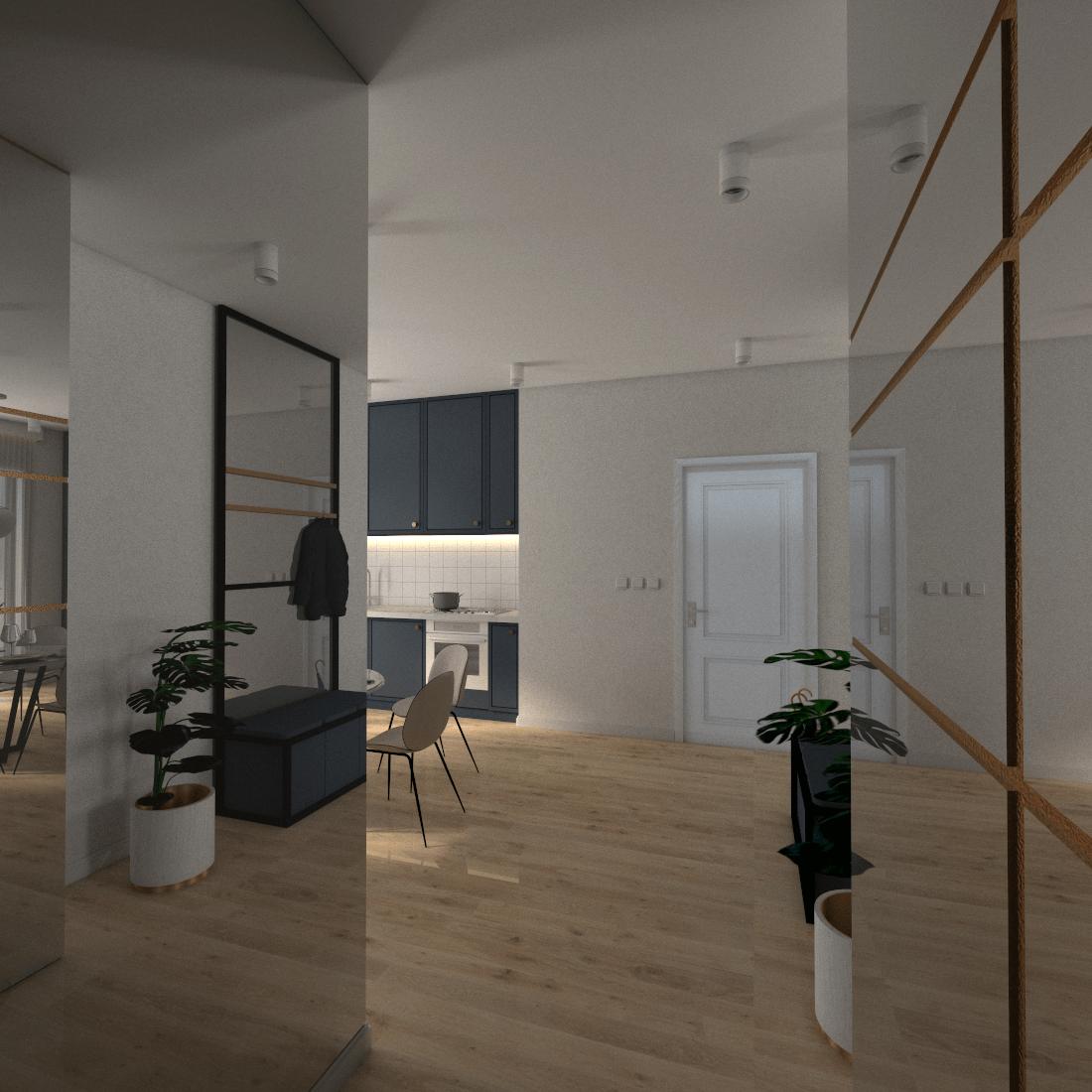 korytarz z szafą i lustrem w mieszkaniu 60m2