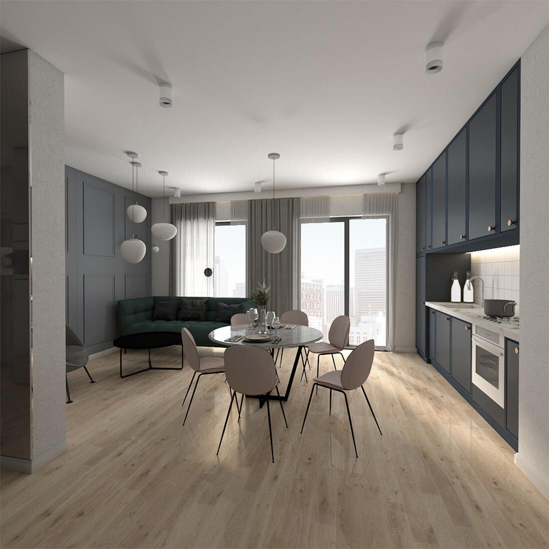 kuchnia z jadalnią i salonem w mieszkaniu 60m2