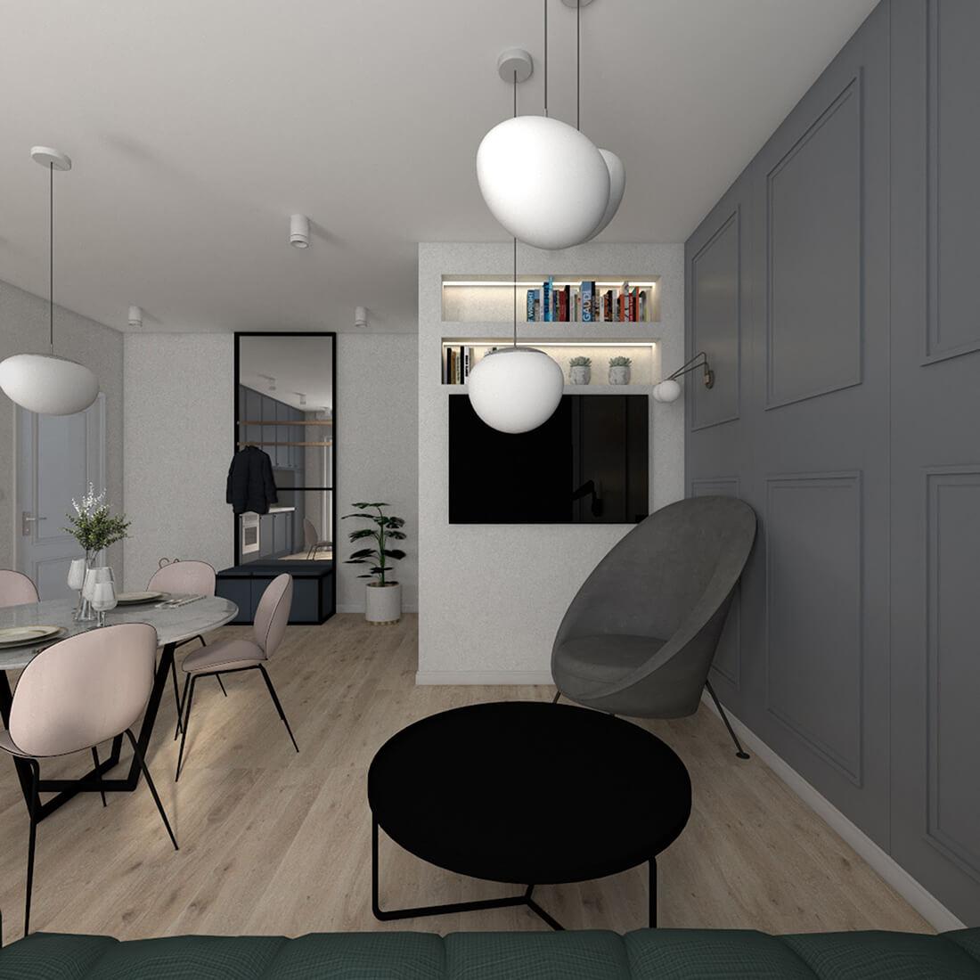 salon łączony z jadalnią i kuchnią w mieszkaniu 60m2