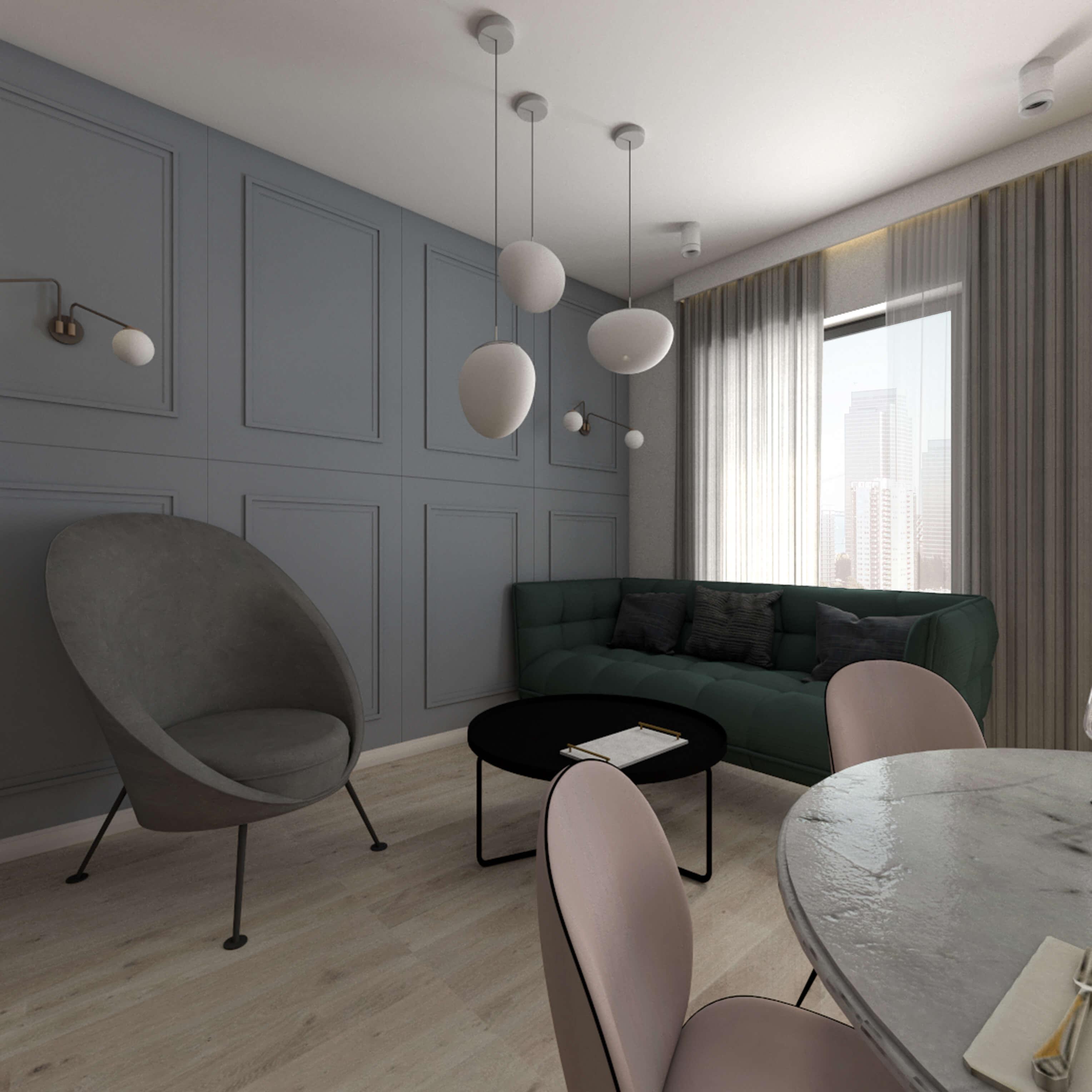 salon z zieloną kanapą i szarą zabudową ściany