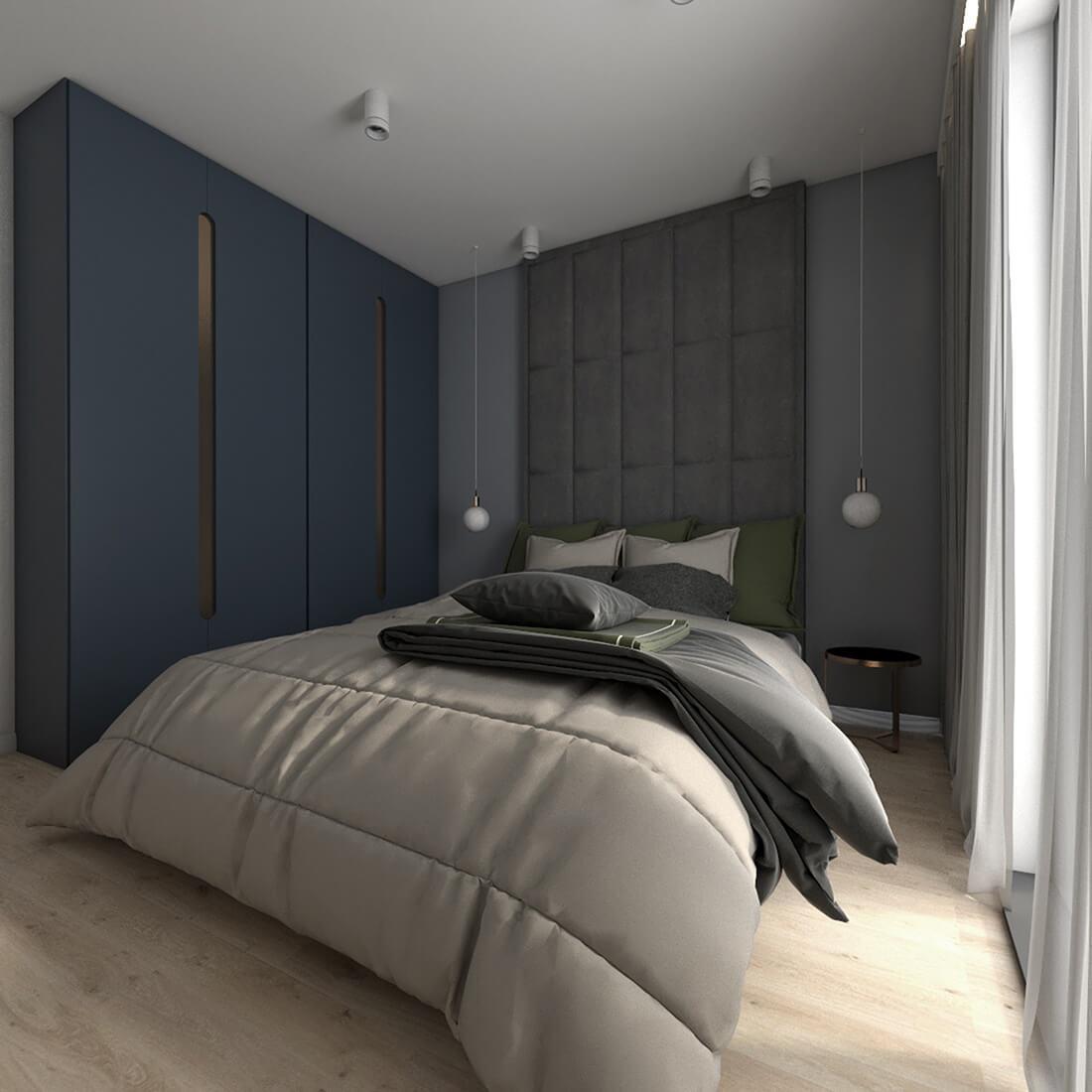 sypialnia główna w mieszkaniu w bloku 60m2