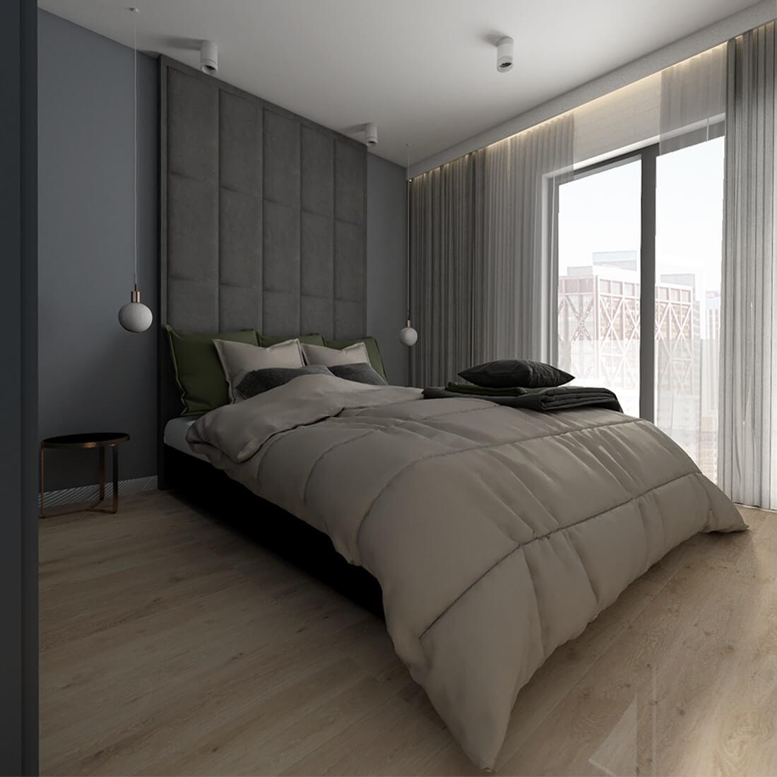 sypialnia główna z tapicerowanym zagłówkiem