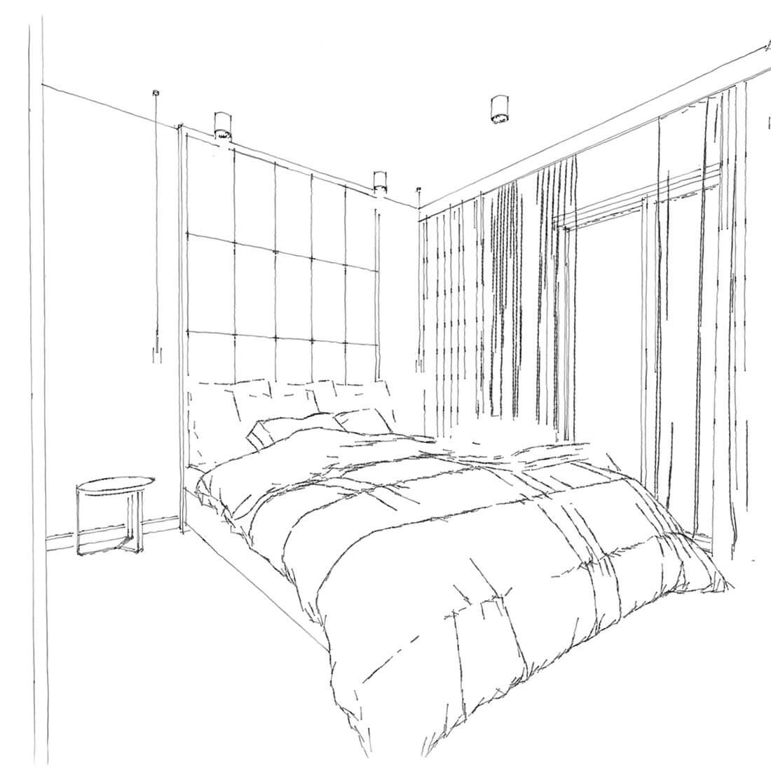 sypialnia z zagłówkiem na pełną wysokość