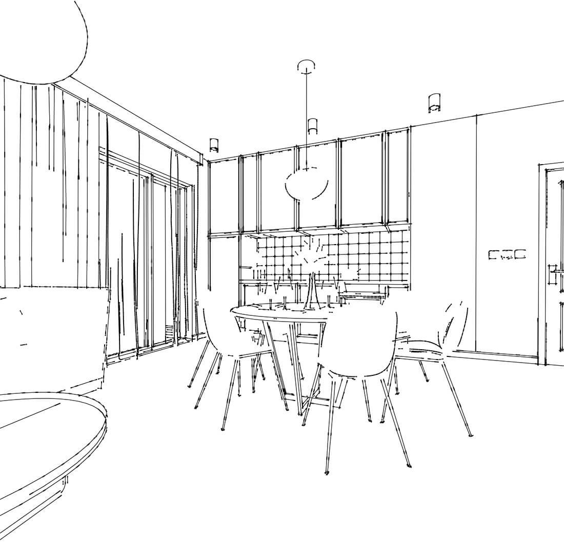 szkic kuchni i jadalni w mieszkaniu 60m2