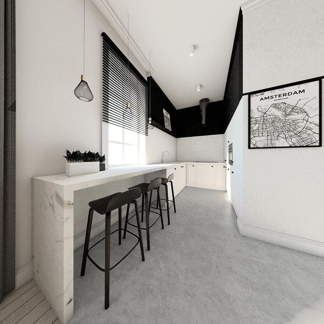 Czarno-biała kuchnia, z białym marmurowym blatem i betonową posadzką