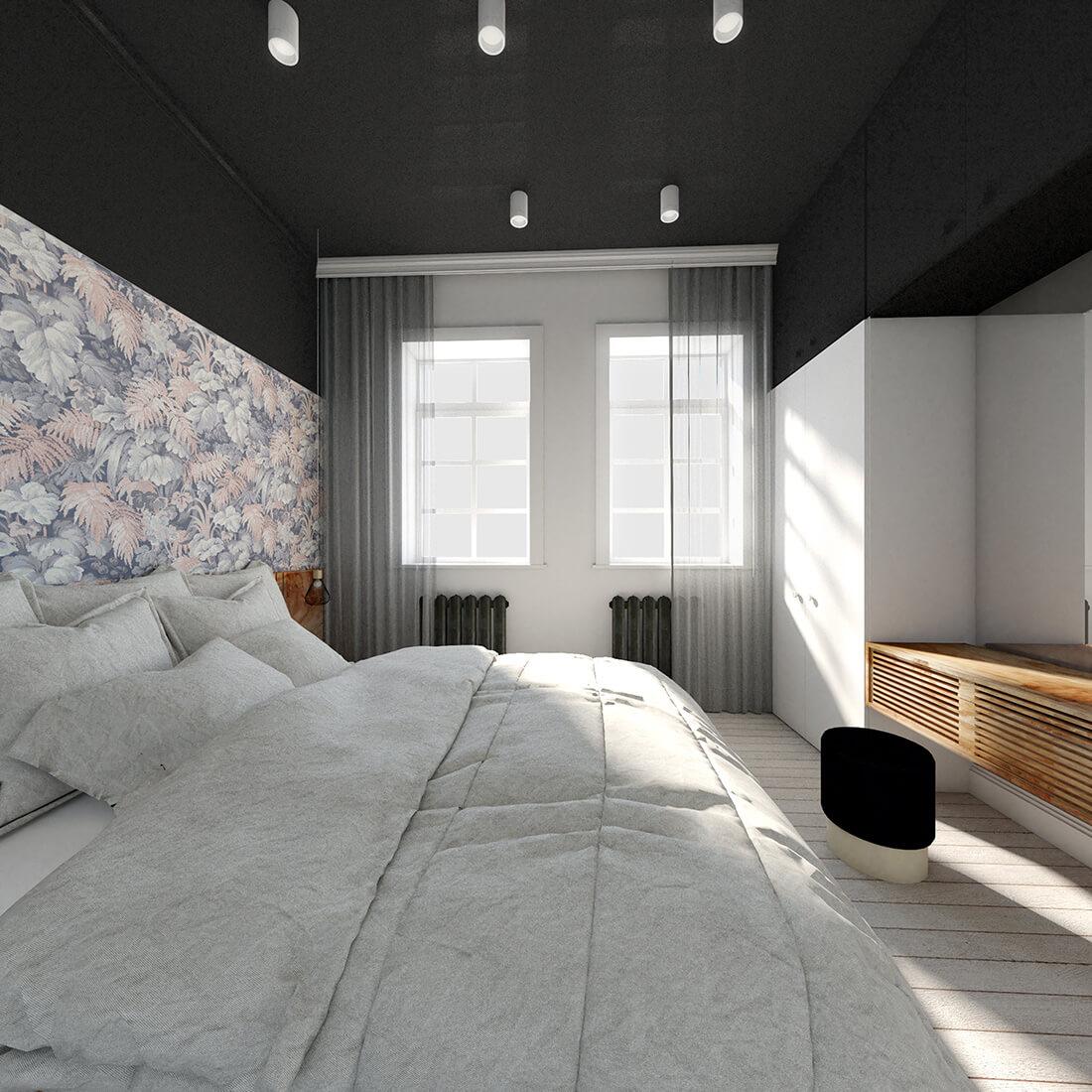 Czarno-biała sypialnia z elementami drewna i kolorową tapetą