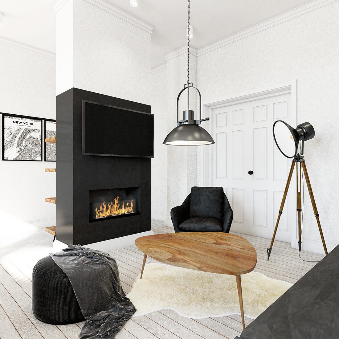 Czarno-biały pokój dzienny z kominkiem