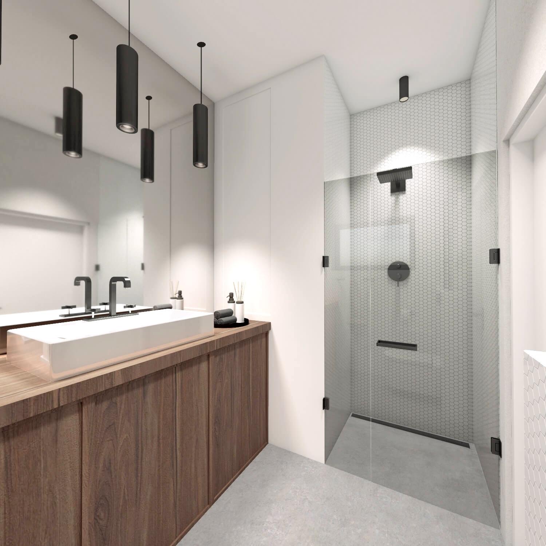 Łazienka z prysznicem, betonowa podłoga