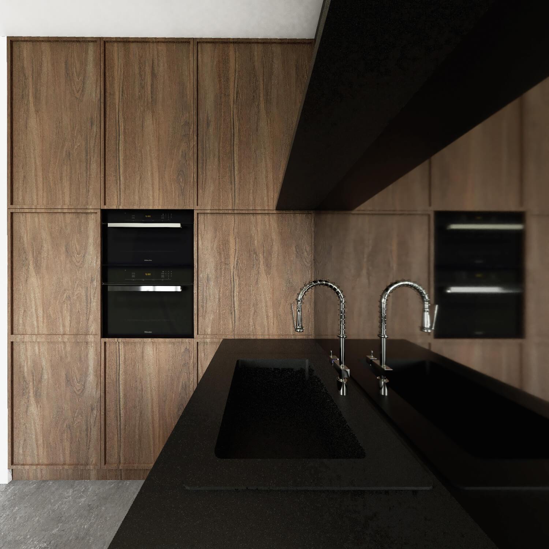 Czarno drewniana kuchnia z lustrem
