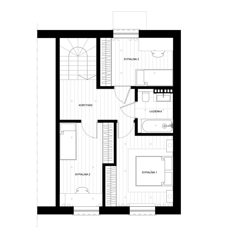 Rzut piętra w domu szeregowym