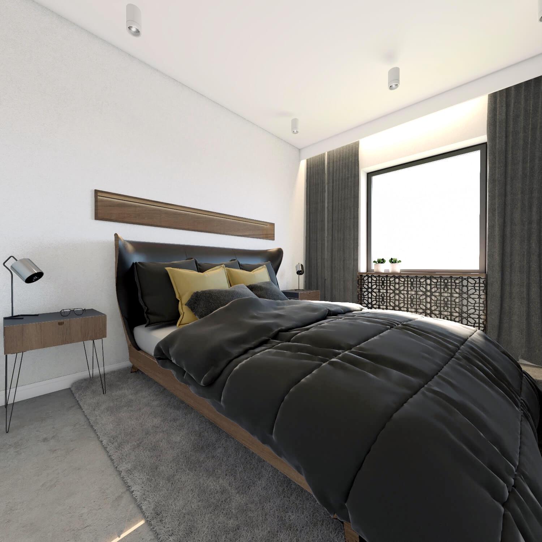 Sypialnia z drewnianym łózkiem i żółtymi dodatkami