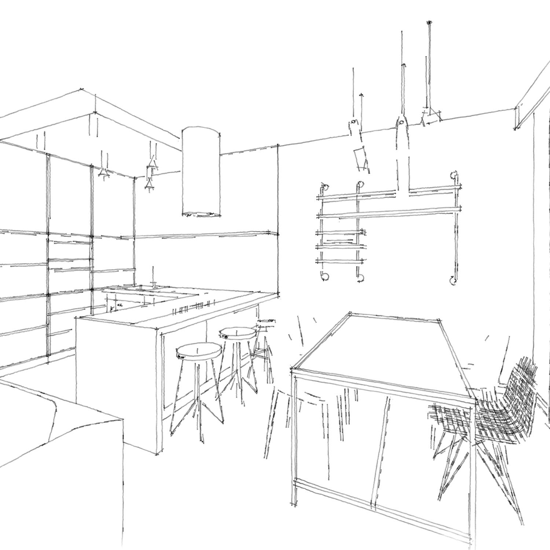 szkic kuchni z jadalnią