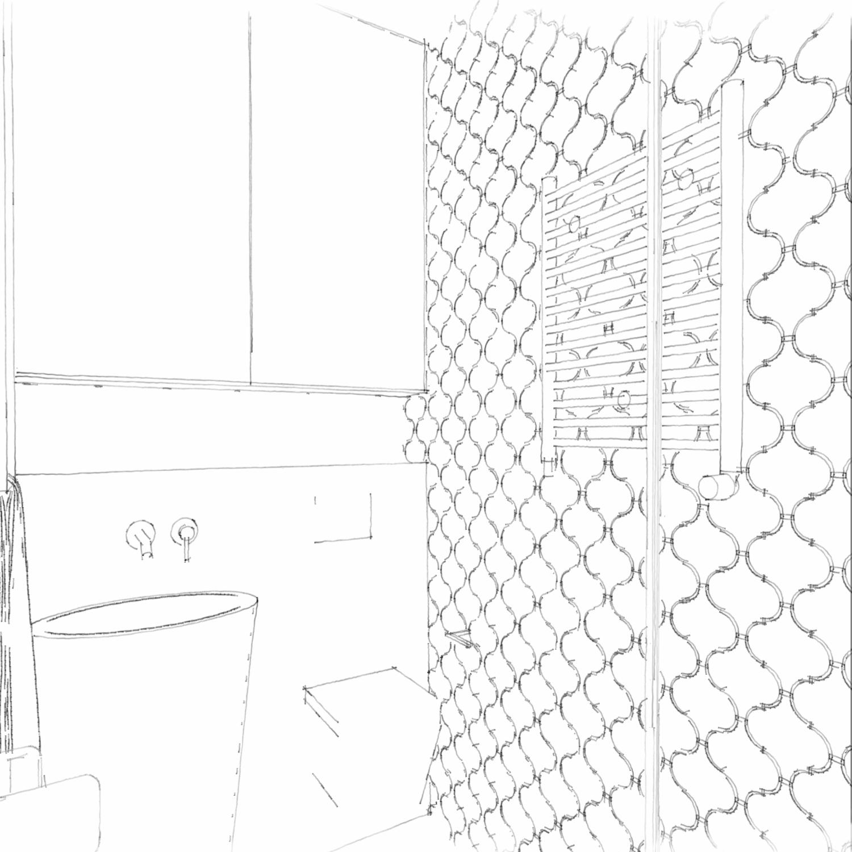 Łazienka czarno-biała z prysznicem, szkic