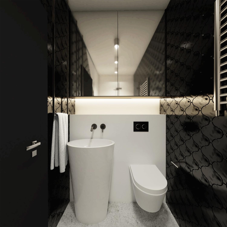 łazienka Czarno Biała Z Prysznicem