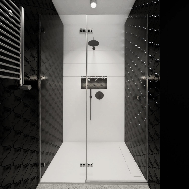 Mała łazienka czarno biała z prysznicem