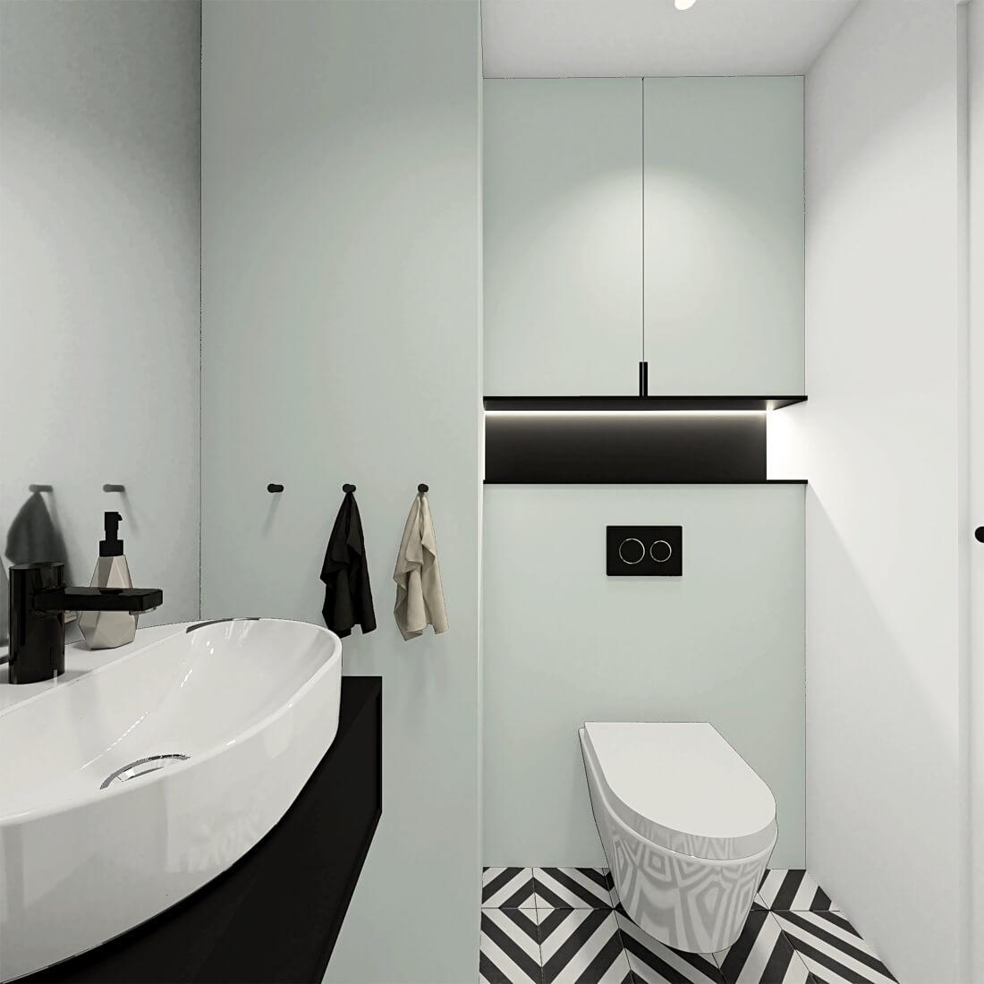 Łazienka z czano-białymi kaflami