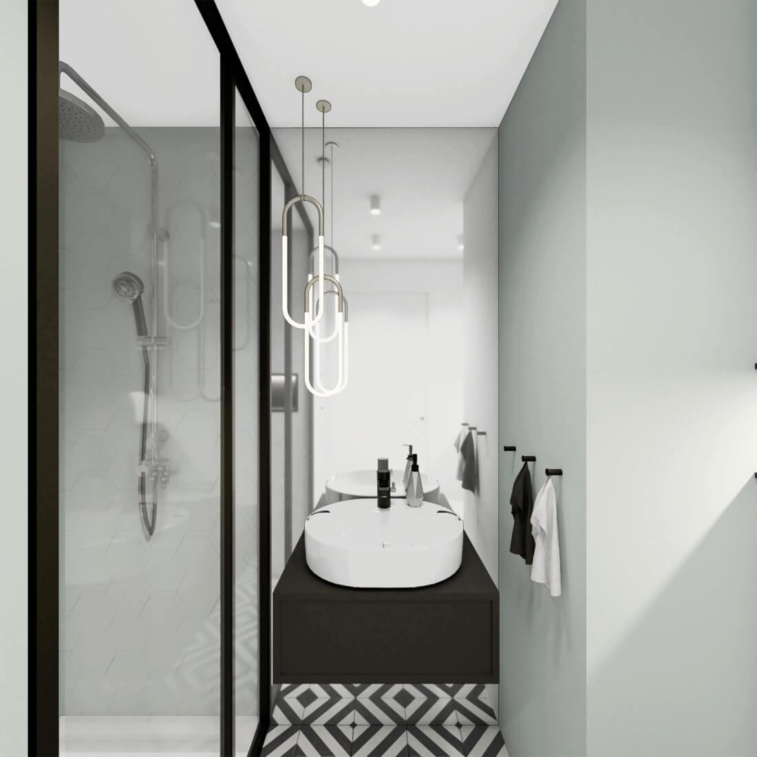 Łazienka z prysznicem w czarnej ramie