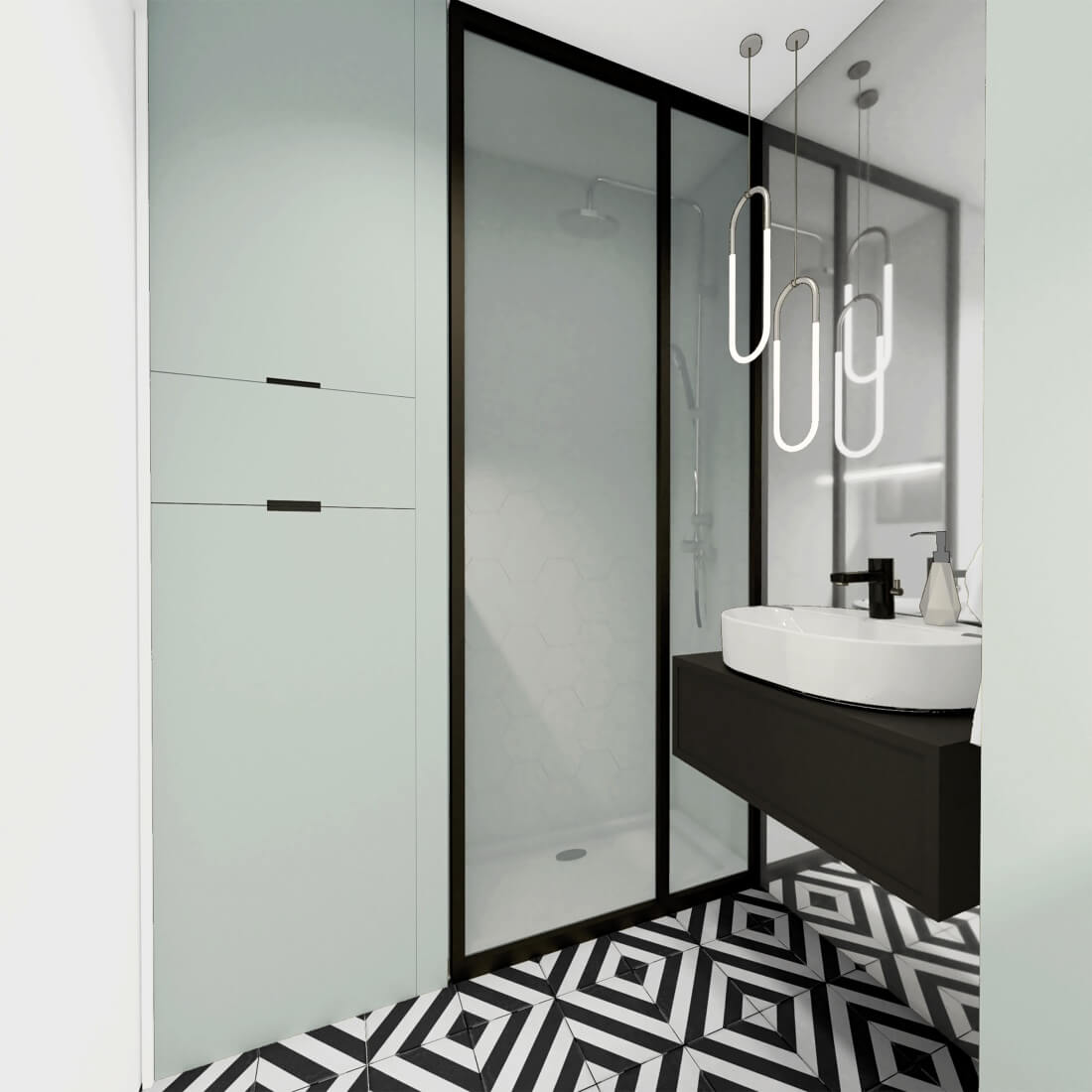 Łazienka z zabudową meblową