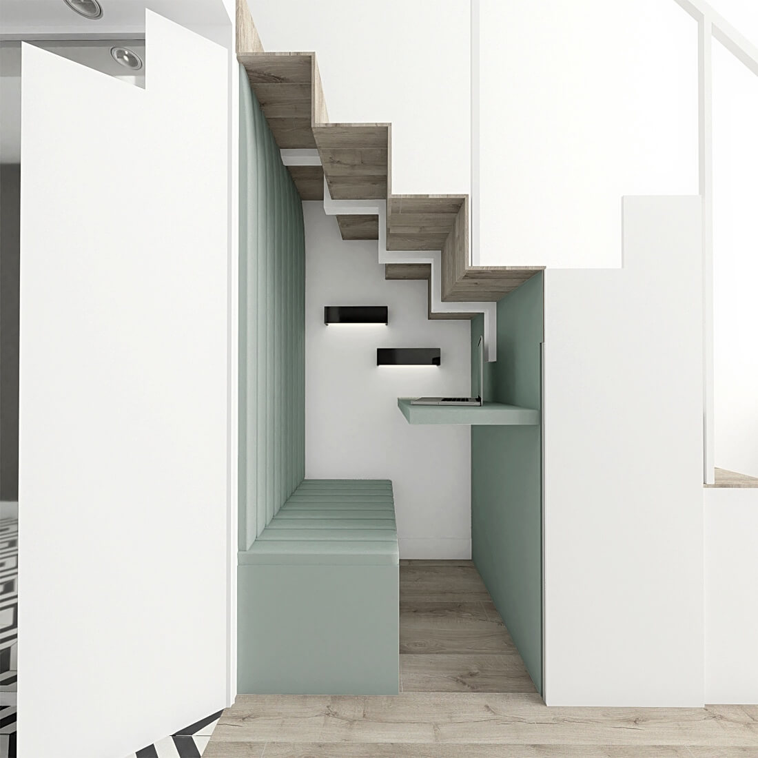 Biuro ukryte pod schodami