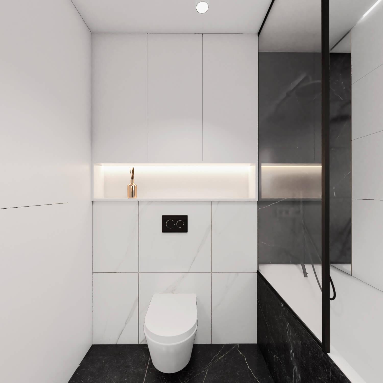 Łazienka z wanną biały marmur