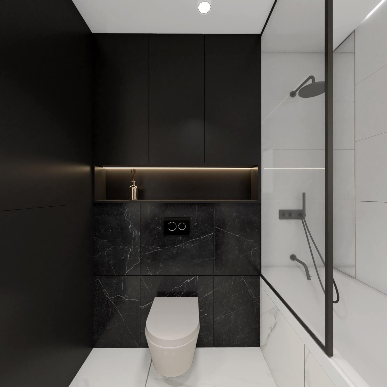 Łazienka z wanną, czarno-biała