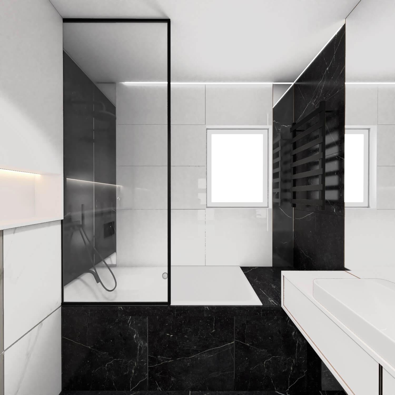 Łazienka z wanną i panelem nawannowym